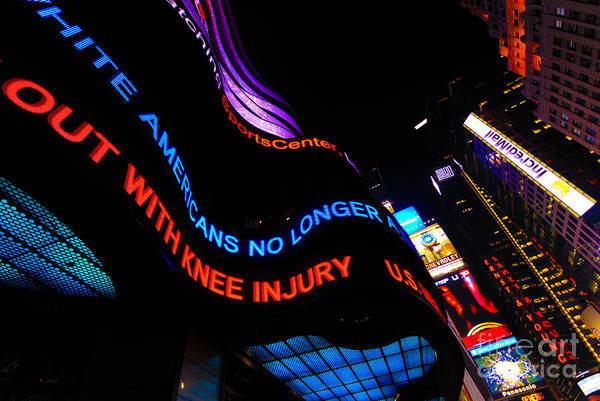 Abc Art Print featuring the photograph Abc News Scrolling Marquee In Times Square New York City by Amy Cicconi