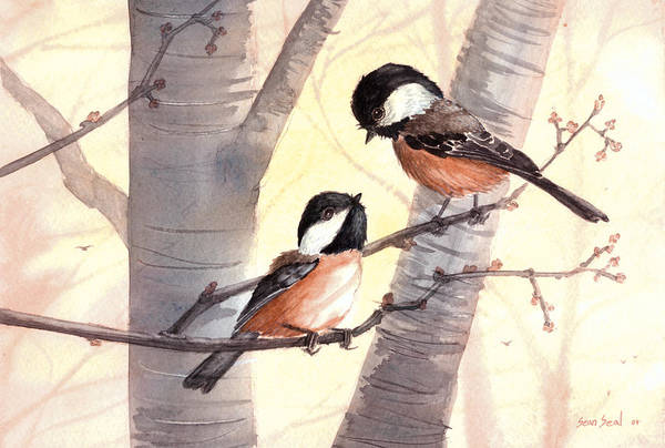 Birds Art Print featuring the painting Chic Chat by Sean Seal