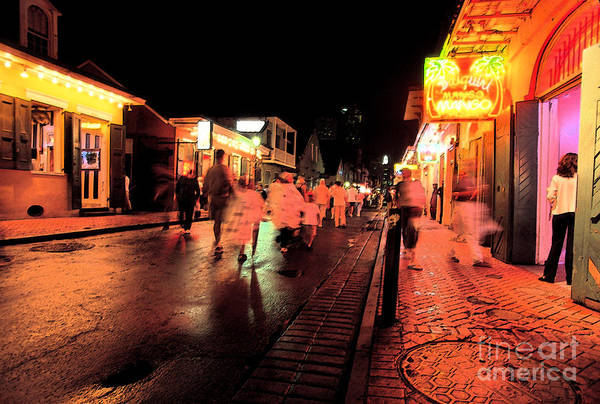 Rain-soaked Street Art Print featuring the digital art Dusk On Bourbon Street by Thomas R Fletcher