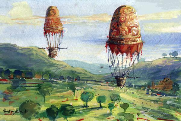 Art Print featuring the painting Flyingballons by Pankaj Deshmukh