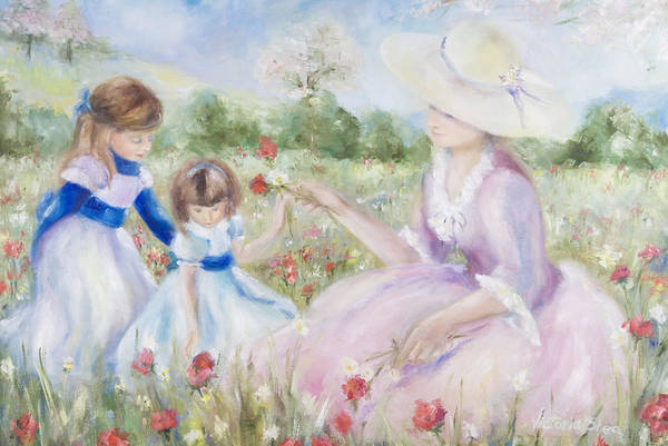 Mother And Child Art Print featuring the painting Gathering Flowers by Victoria Shea