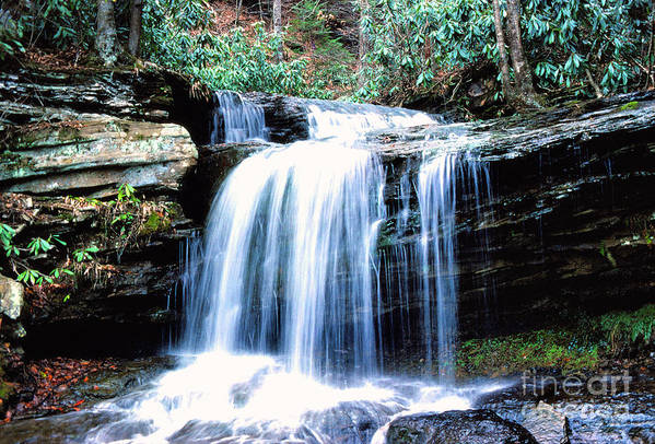 West Virginia Art Print featuring the photograph Lin Camp Branch Waterfall 1983 by Thomas R Fletcher