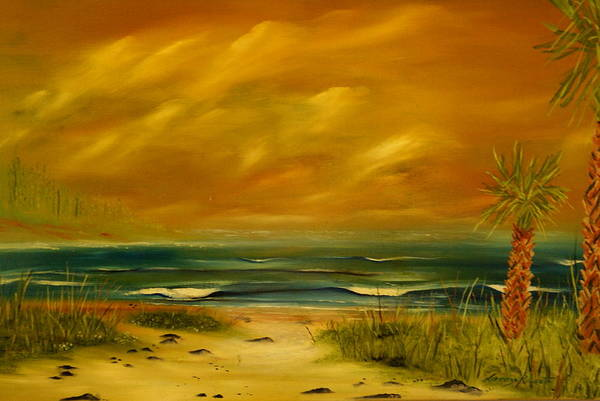 Sea Shore/palms/beach/skys Art Print featuring the painting Palm Island by Lorenzo Roberts