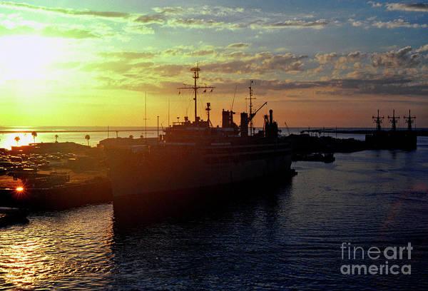 Sunrise Art Print featuring the photograph Us Naval Station Mayport by Thomas R Fletcher
