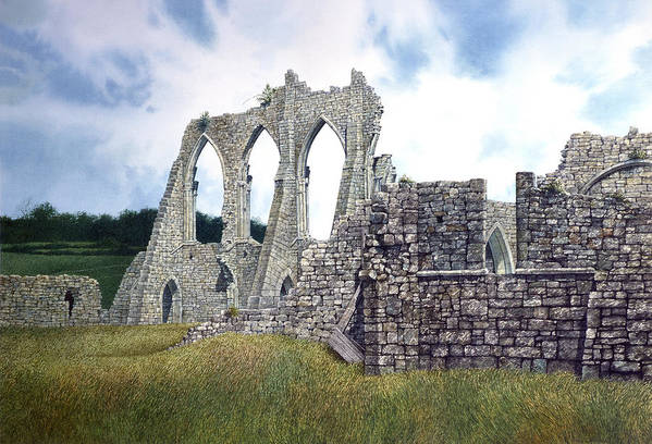 Landscape Art Print featuring the painting Arches Of Bayham Abbey by Tom Wooldridge