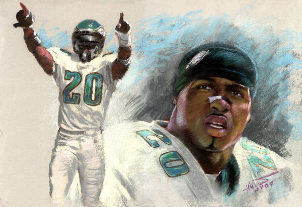 Brian Dawkins Art Print featuring the drawing Brian Dawkins by Viola El
