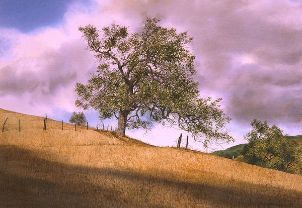 Landscape Art Print featuring the painting By The Big Oak by Tom Wooldridge