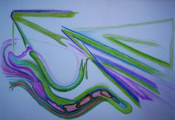 Abstract Art Print featuring the drawing Canal by Suzanne Udell Levinger