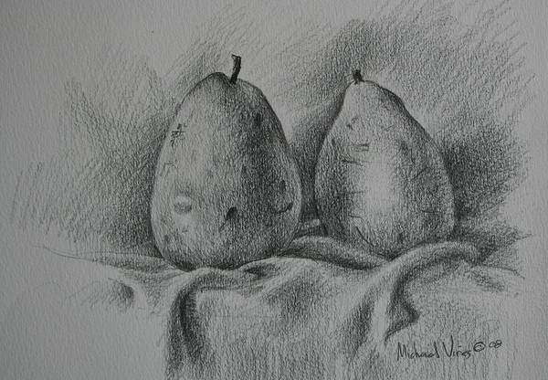 Graphite On Paper Art Print featuring the drawing A Pair Study by Michael Vires