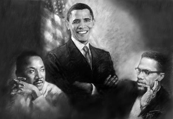 Barack Obama Art Print featuring the pastel Barack Obama Martin Luther King Jr And Malcolm X by Ylli Haruni