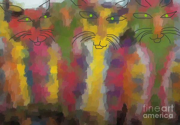 Cat Portraits Art Print featuring the painting Cats by Don Phillips