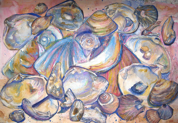 Collage Art Print featuring the painting Collage Of Shells by Joyce Kanyuk