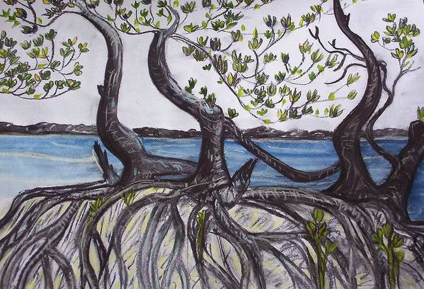 Sea Art Print featuring the painting Mangroves by Joan Stratton