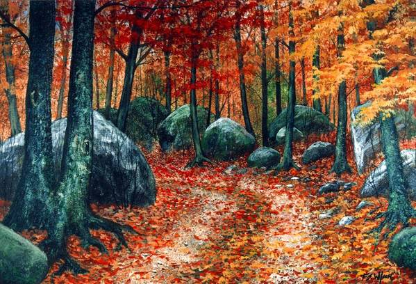 Landscape Art Print featuring the painting October Woodland by Frank Wilson