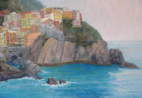 Italy Art Print featuring the painting Painted Ladies Of Manarola by Bunny Oliver