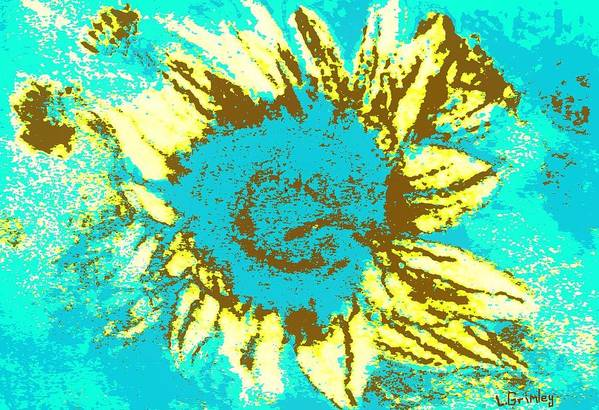 Flower Art Print featuring the mixed media Sunflower by Lessandra Grimley