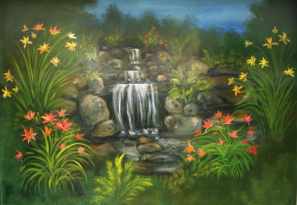 Waterfall Art Print featuring the painting Zen Waterfall by Sundara Fawn