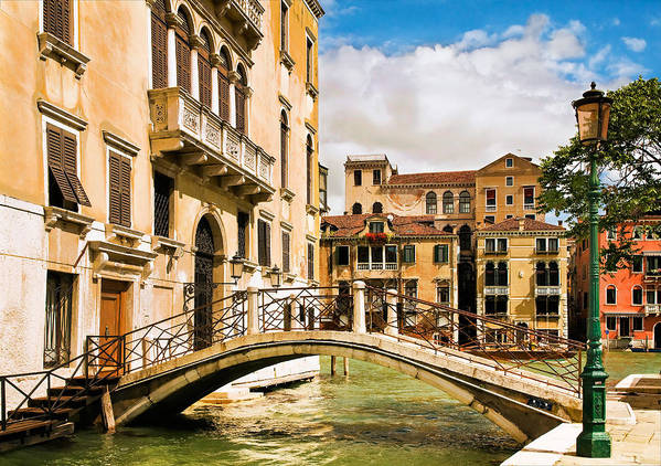 Venice Art Print featuring the photograph Bridge On The Canal by Mick Burkey
