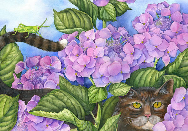Cats Art Print featuring the painting Cat In The Garden by Mindy Lighthipe