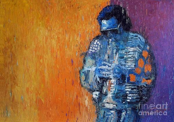 Jazz Art Print featuring the painting Jazz Miles Davis 2 by Yuriy Shevchuk
