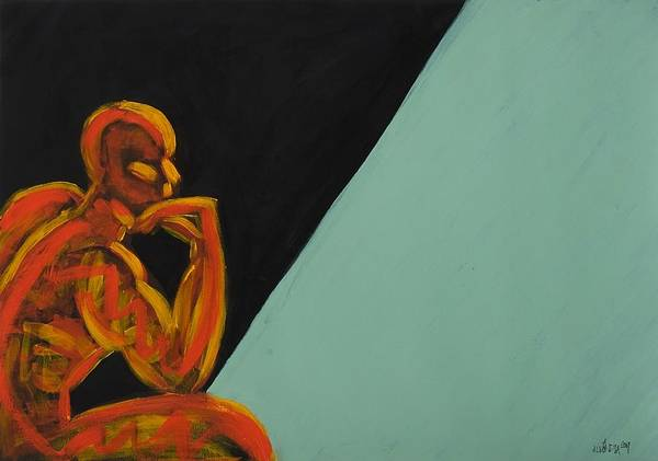 Figure Art Print featuring the painting Learning To Be Human - Body Mind Soul by Albert Almondia