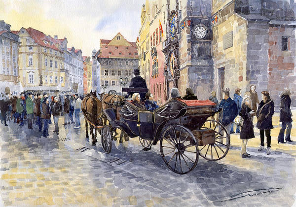 Watercolour Art Print featuring the painting Prague Old Town Hall And Astronomical Clock by Yuriy Shevchuk