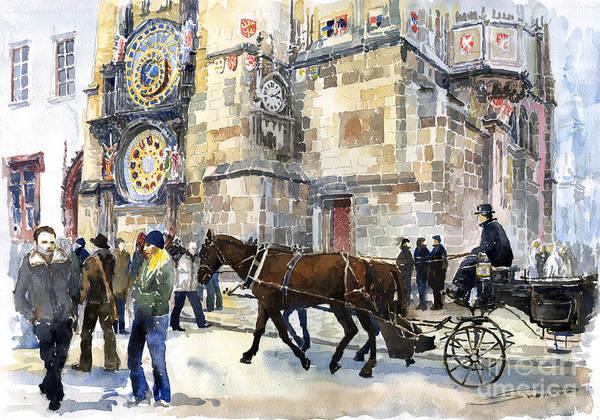 Watercolour Art Print featuring the painting Prague Old Town Square Astronomical Clock Or Prague Orloj by Yuriy Shevchuk