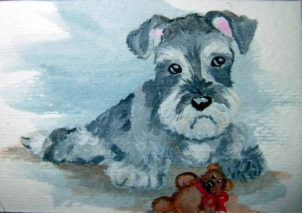 Schnauzer Art Print featuring the painting Me And My Teddy by Tammy Brown