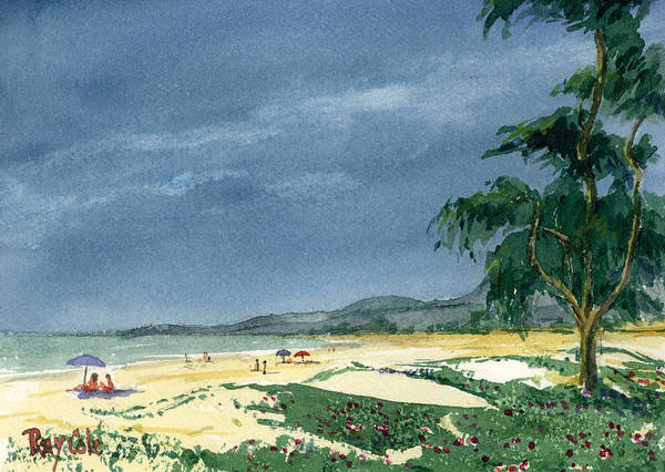 Beach Day Art Print featuring the painting Dark Sky by Ray Cole