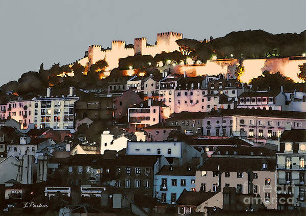 Abstract Art Print featuring the photograph Dawn At St. George Castle Lisbon by Linda Parker
