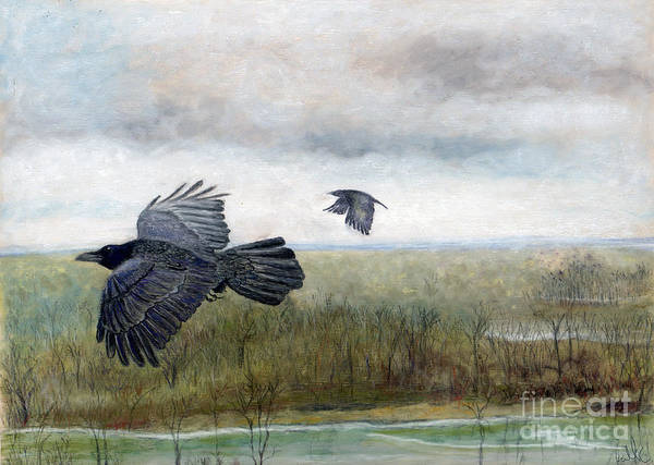 Crow Art Print featuring the painting Flying To The Roost by Barb Kirpluk
