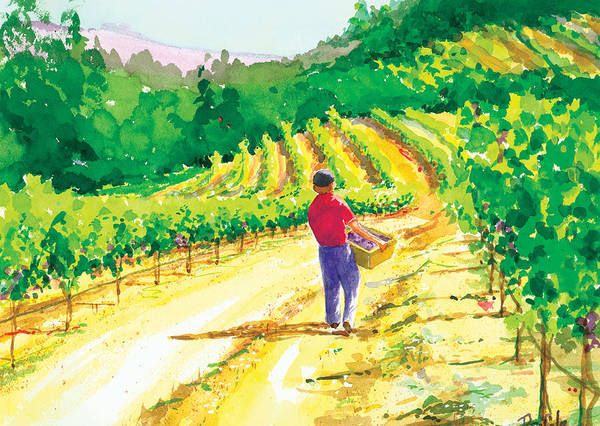 Vineyard Art Print featuring the painting In The Vineyard by Ray Cole