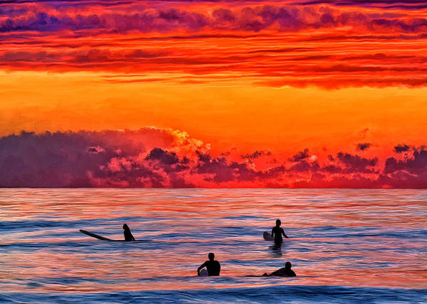 Surf Art Print featuring the painting Waiting For The Next Set by Michael Pickett