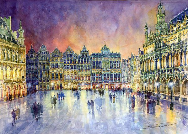 Watercolor Art Print featuring the painting Belgium Brussel Grand Place Grote Markt by Yuriy Shevchuk