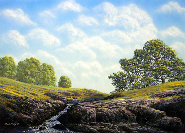 Landscape Art Print featuring the painting Flowering Meadow by Frank Wilson