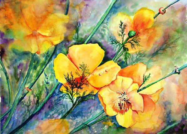 Flowers Art Print featuring the painting California's Poppies by Dorothy Nalls