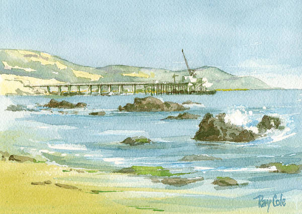 Casitas Pier Art Print featuring the painting Casitas Pier II by Ray Cole