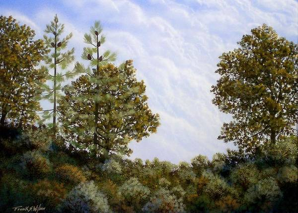 Landscape Art Print featuring the painting Clouds In Foothills by Frank Wilson