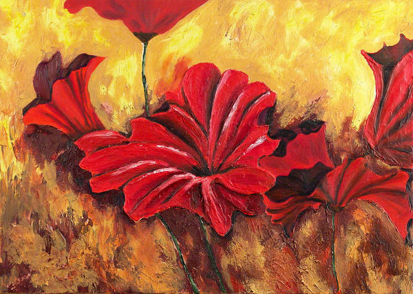 Flowers Art Print featuring the painting First Passion by Helene Lagoudakis