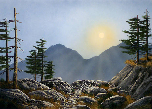 Landscape Art Print featuring the painting Lookout Rock by Frank Wilson