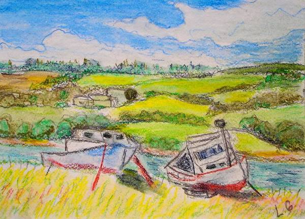 Fishing Boats Art Print featuring the drawing Nova Scotia Fishing Boats by Lessandra Grimley