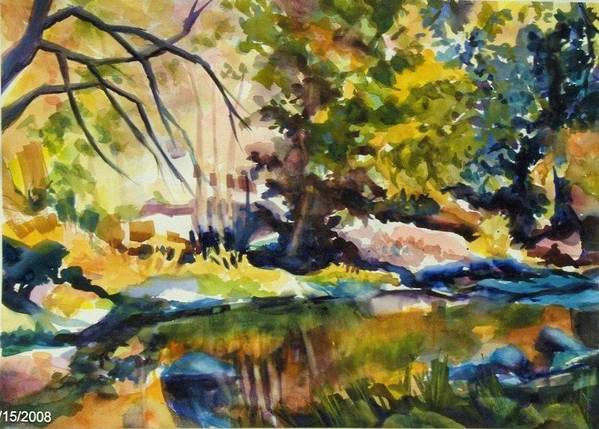 Yosemite National Park Art Print featuring the painting River Reflections In Yosemite Autumn by Therese Fowler-Bailey