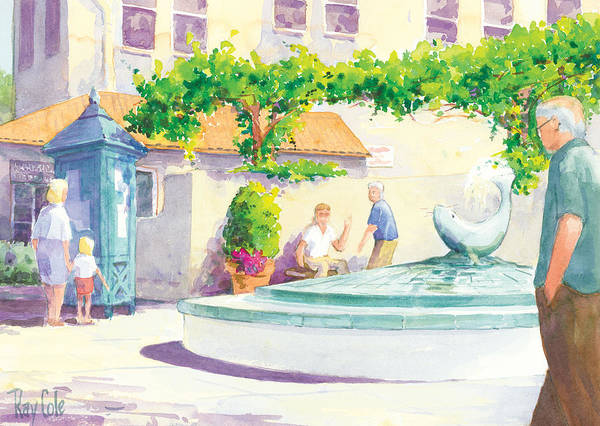 Landmark Art Print featuring the painting Seal Fountain by Ray Cole