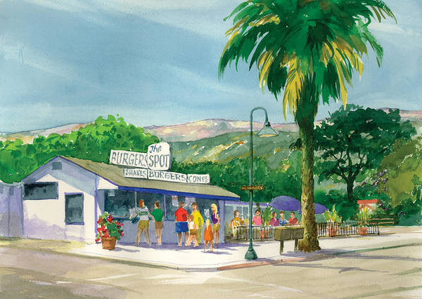 Famous Burger Joint Art Print featuring the painting The Spot by Ray Cole