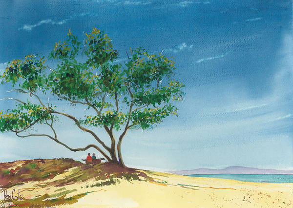 Picnic At The Beach Art Print featuring the painting Two At The Beach by Ray Cole