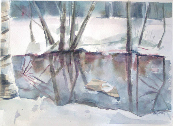 Maine Print featuring the painting Ditch Pool April by Grace Keown
