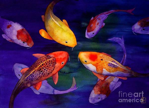Watercolor Print featuring the painting Koi Friends by Robert Hooper