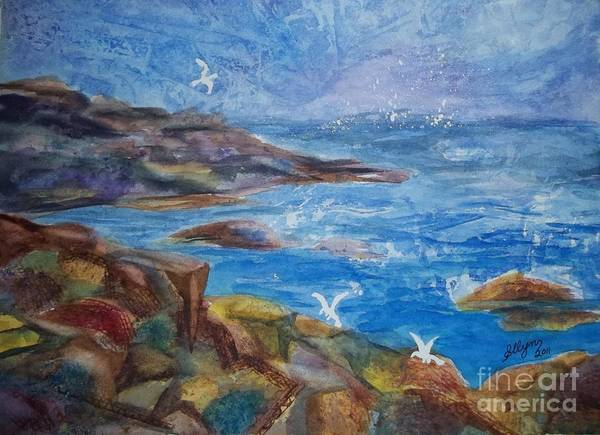 Maine Coast Art Print featuring the painting Rocky Shores Of Maine by Ellen Levinson