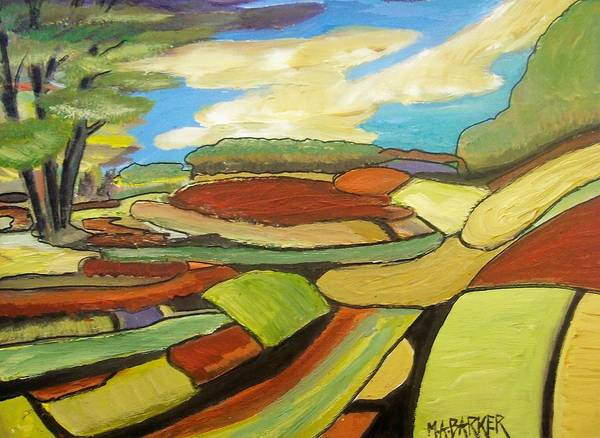Mosaic Art Print featuring the painting Mosaic Landscape by Mary ann Barker