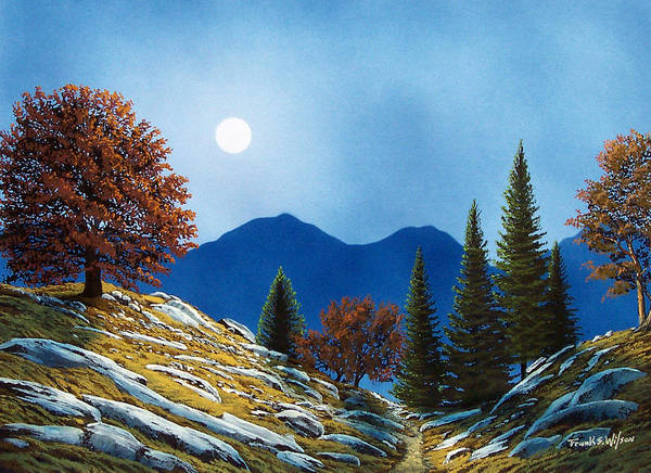 Landscape Art Print featuring the painting Mountain Moonrise by Frank Wilson